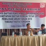 KPU Tetapkan DPT Pemilu 2019, Kota Tomohon